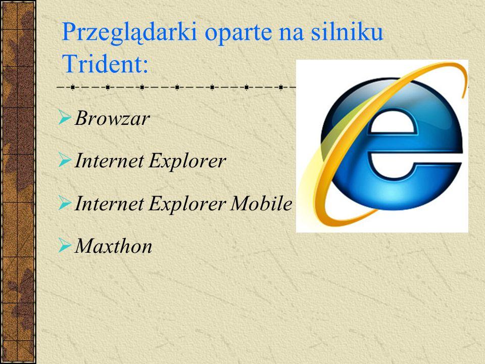 Przeglądarki oparte na silniku Trident: Browzar Internet Explorer Internet Explorer Mobile Maxthon