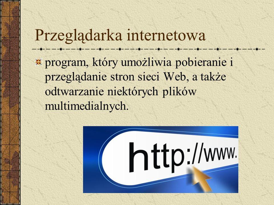 Przeglądarka internetowa program, który umożliwia pobieranie i przeglądanie stron sieci Web, a także odtwarzanie niektórych plików multimedialnych.