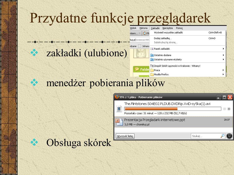 Przydatne funkcje przeglądarek zakładki (ulubione) menedżer pobierania plików Obsługa skórek