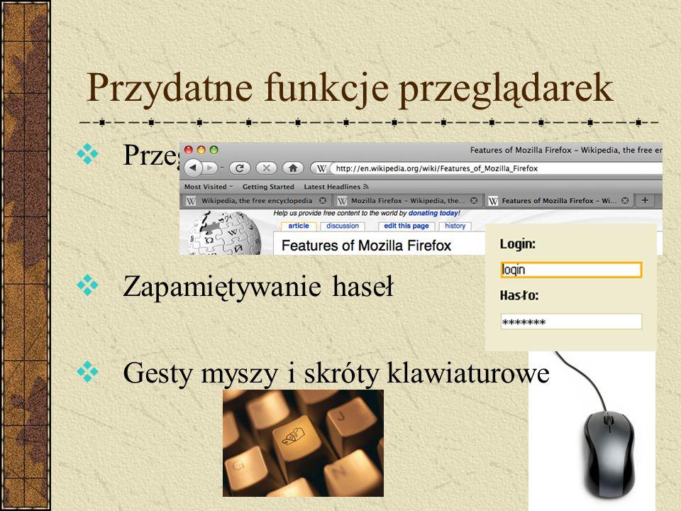 Przydatne funkcje przeglądarek Przeglądanie w kartach Zapamiętywanie haseł Gesty myszy i skróty klawiaturowe
