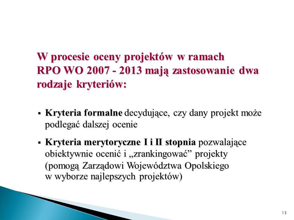 13 W procesie oceny projektów w ramach RPO WO 2007 - 2013 mają zastosowanie dwa rodzaje kryteriów: Kryteria formalne decydujące, czy dany projekt może podlegać dalszej ocenie Kryteria formalne decydujące, czy dany projekt może podlegać dalszej ocenie Kryteria merytoryczne I i II stopnia pozwalające obiektywnie ocenić i zrankingować projekty (pomogą Zarządowi Województwa Opolskiego w wyborze najlepszych projektów) Kryteria merytoryczne I i II stopnia pozwalające obiektywnie ocenić i zrankingować projekty (pomogą Zarządowi Województwa Opolskiego w wyborze najlepszych projektów)