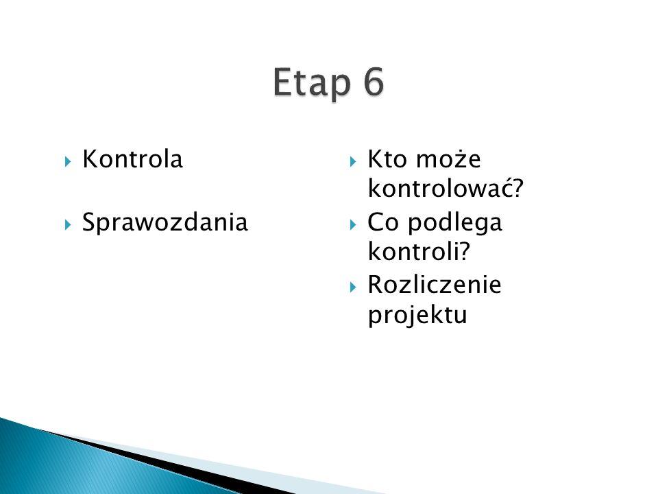 Kontrola Sprawozdania Kto może kontrolować Co podlega kontroli Rozliczenie projektu