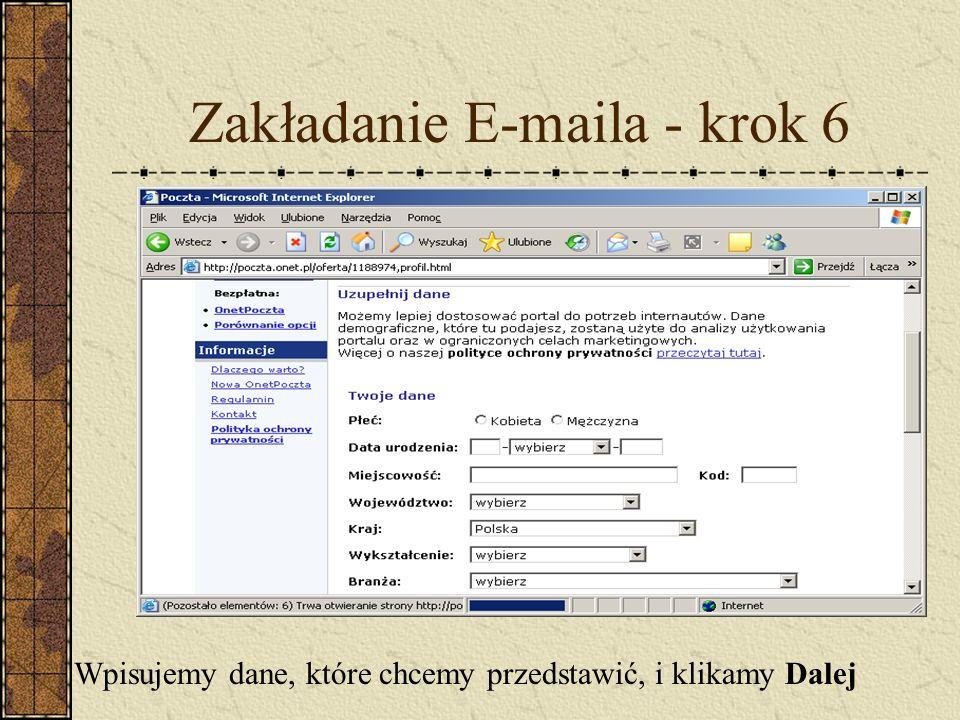 Zakładanie E-maila - krok 6 Wpisujemy dane, które chcemy przedstawić, i klikamy Dalej
