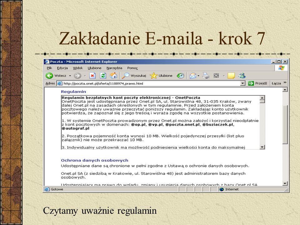 Zakładanie E-maila - krok 7 Czytamy uważnie regulamin