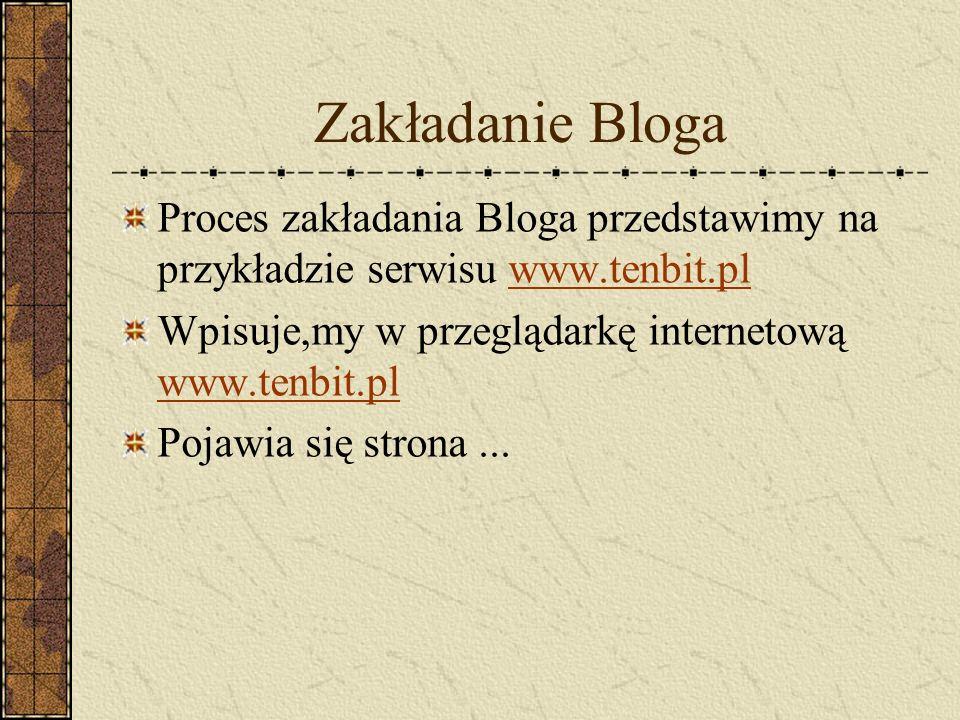 Zakładanie Bloga Proces zakładania Bloga przedstawimy na przykładzie serwisu www.tenbit.plwww.tenbit.pl Wpisuje,my w przeglądarkę internetową www.tenb