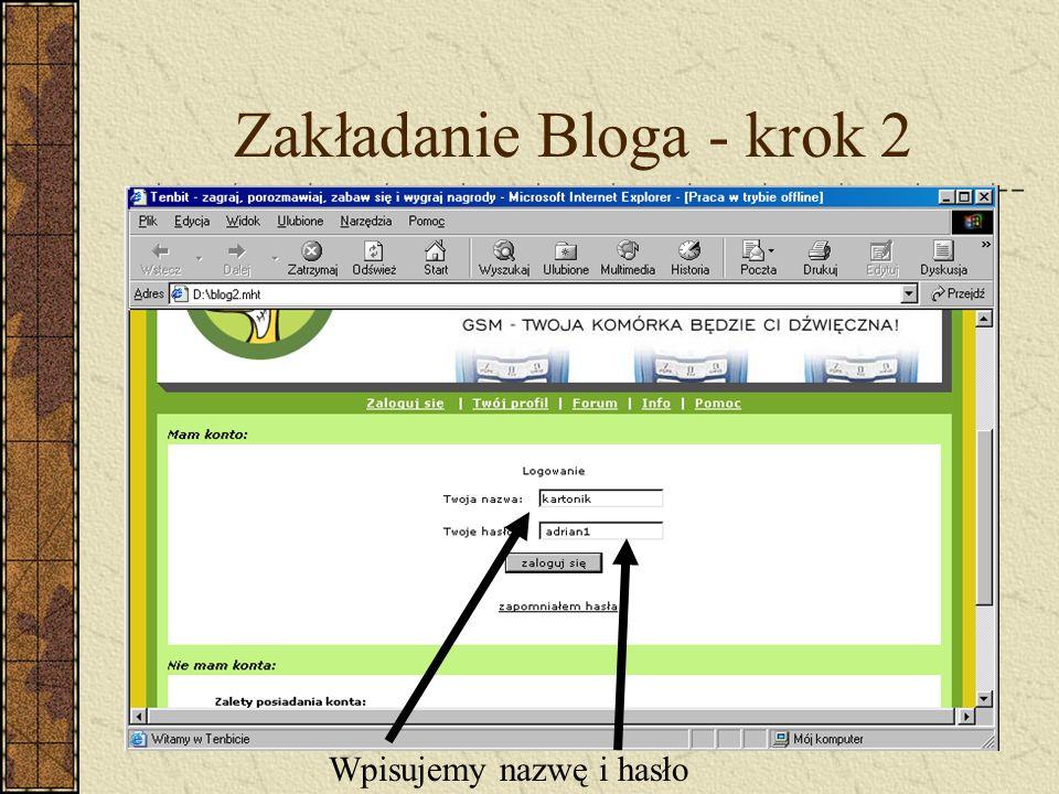 Zakładanie Bloga - krok 2 Wpisujemy nazwę i hasło