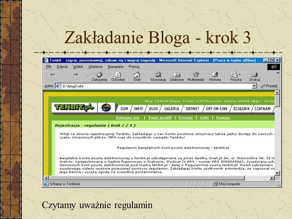 Zakładanie Bloga - krok 3 Czytamy uważnie regulamin