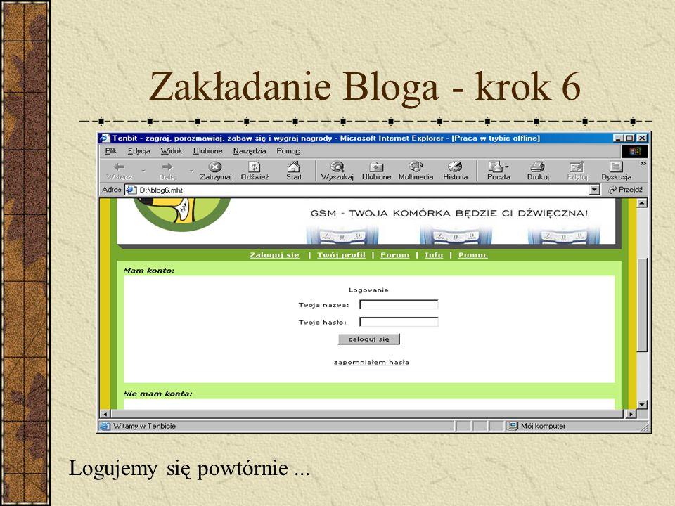 Zakładanie Bloga - krok 6 Logujemy się powtórnie...