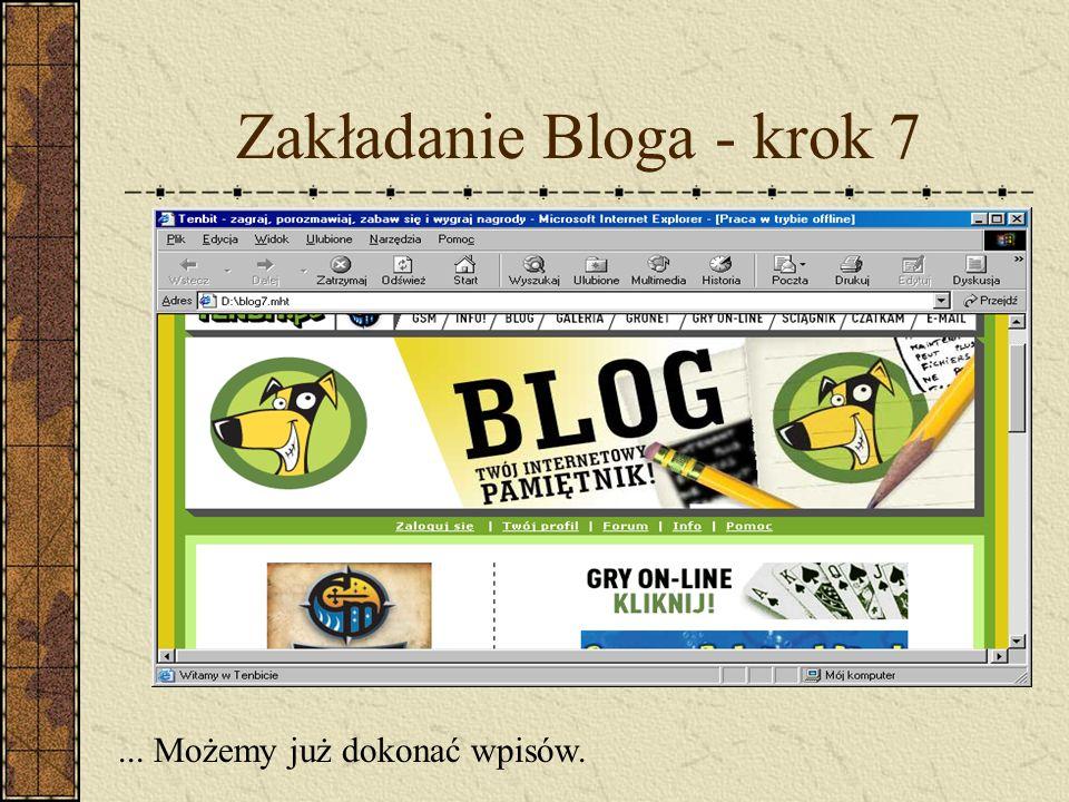 Zakładanie Bloga - krok 7... Możemy już dokonać wpisów.