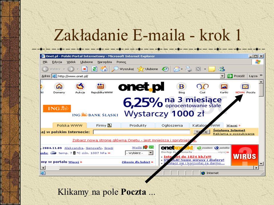 Zakładanie E-maila - krok 1 Klikamy na pole Poczta...