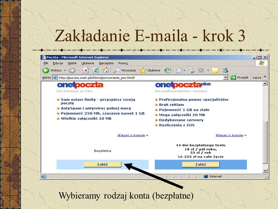 Zakładanie E-maila - krok 3 Wybieramy rodzaj konta (bezpłatne)
