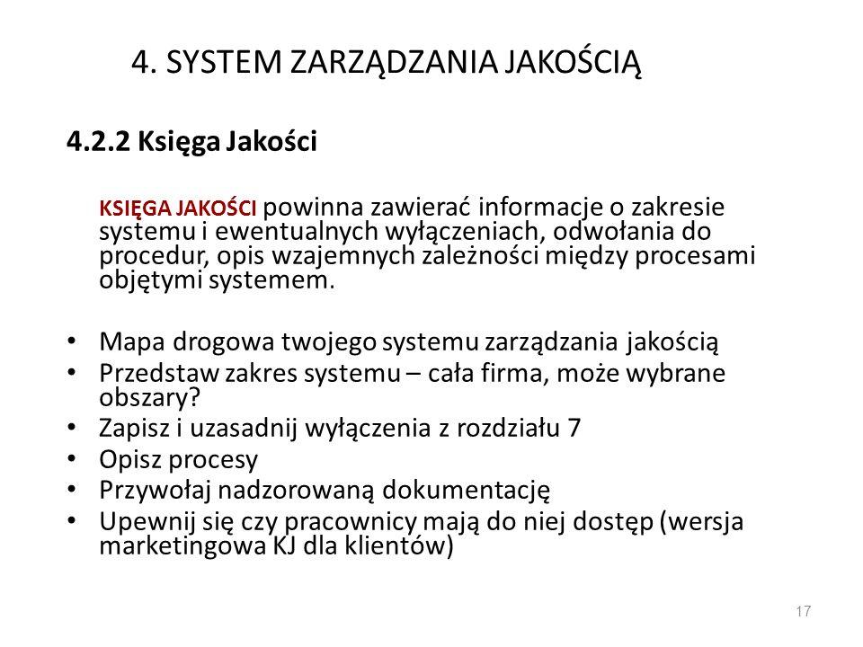 4. SYSTEM ZARZĄDZANIA JAKOŚCIĄ 4.2.2 Księga Jakości KSIĘGA JAKOŚCI powinna zawierać informacje o zakresie systemu i ewentualnych wyłączeniach, odwołan
