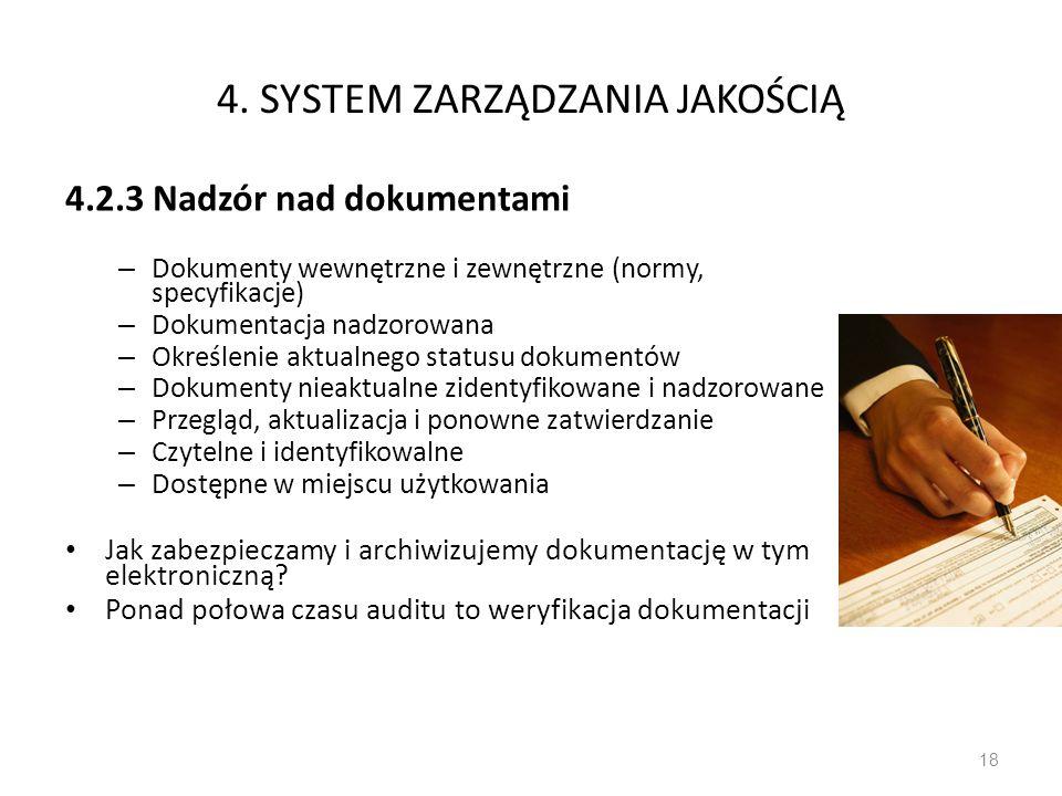 4. SYSTEM ZARZĄDZANIA JAKOŚCIĄ 4.2.3 Nadzór nad dokumentami – Dokumenty wewnętrzne i zewnętrzne (normy, specyfikacje) – Dokumentacja nadzorowana – Okr