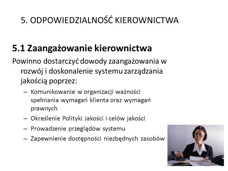 5. ODPOWIEDZIALNOŚĆ KIEROWNICTWA 5.1 Zaangażowanie kierownictwa Powinno dostarczyć dowody zaangażowania w rozwój i doskonalenie systemu zarządzania ja