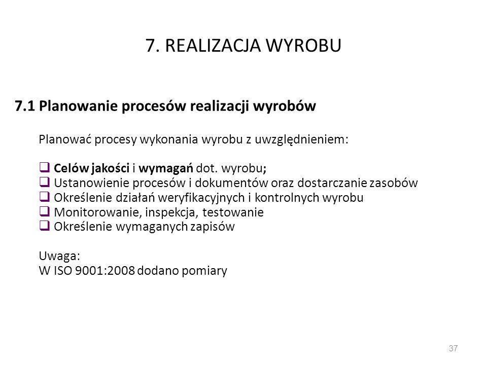 7. REALIZACJA WYROBU 7.1 Planowanie procesów realizacji wyrobów Planować procesy wykonania wyrobu z uwzględnieniem: Celów jakości i wymagań dot. wyrob