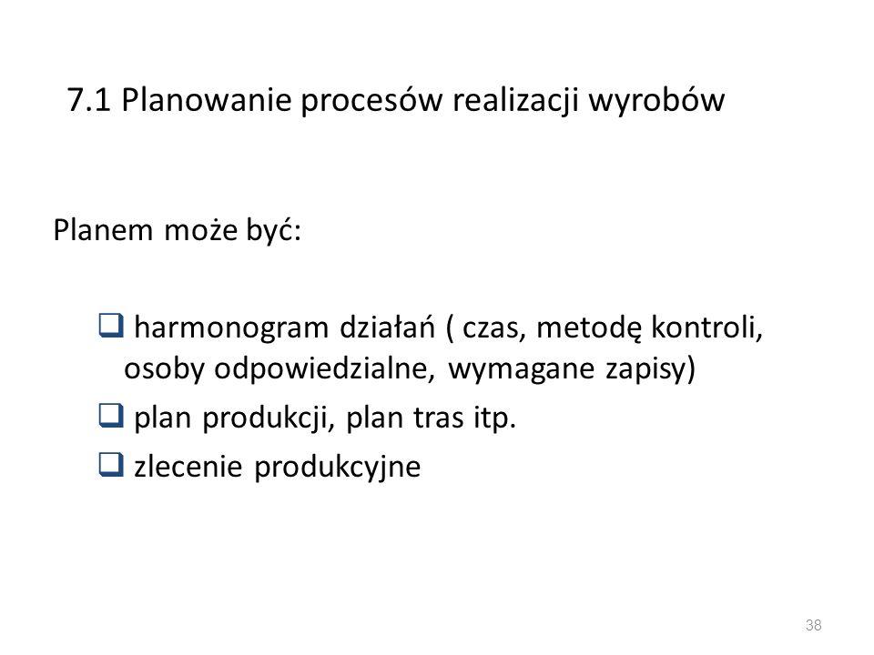 7.1 Planowanie procesów realizacji wyrobów Planem może być: harmonogram działań ( czas, metodę kontroli, osoby odpowiedzialne, wymagane zapisy) plan p