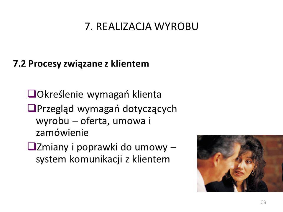 7. REALIZACJA WYROBU 7.2 Procesy związane z klientem Określenie wymagań klienta Przegląd wymagań dotyczących wyrobu – oferta, umowa i zamówienie Zmian