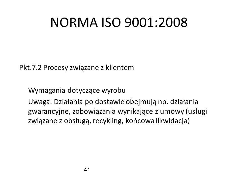 41 NORMA ISO 9001:2008 Pkt.7.2 Procesy związane z klientem Wymagania dotyczące wyrobu Uwaga: Działania po dostawie obejmują np. działania gwarancyjne,