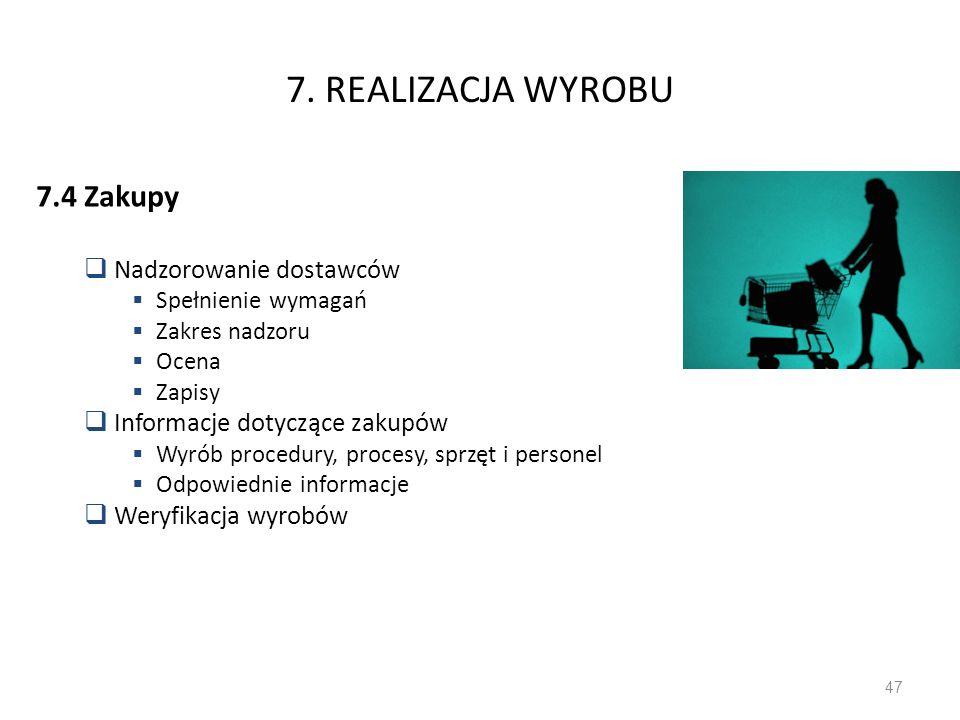 7. REALIZACJA WYROBU 7.4 Zakupy Nadzorowanie dostawców Spełnienie wymagań Zakres nadzoru Ocena Zapisy Informacje dotyczące zakupów Wyrób procedury, pr