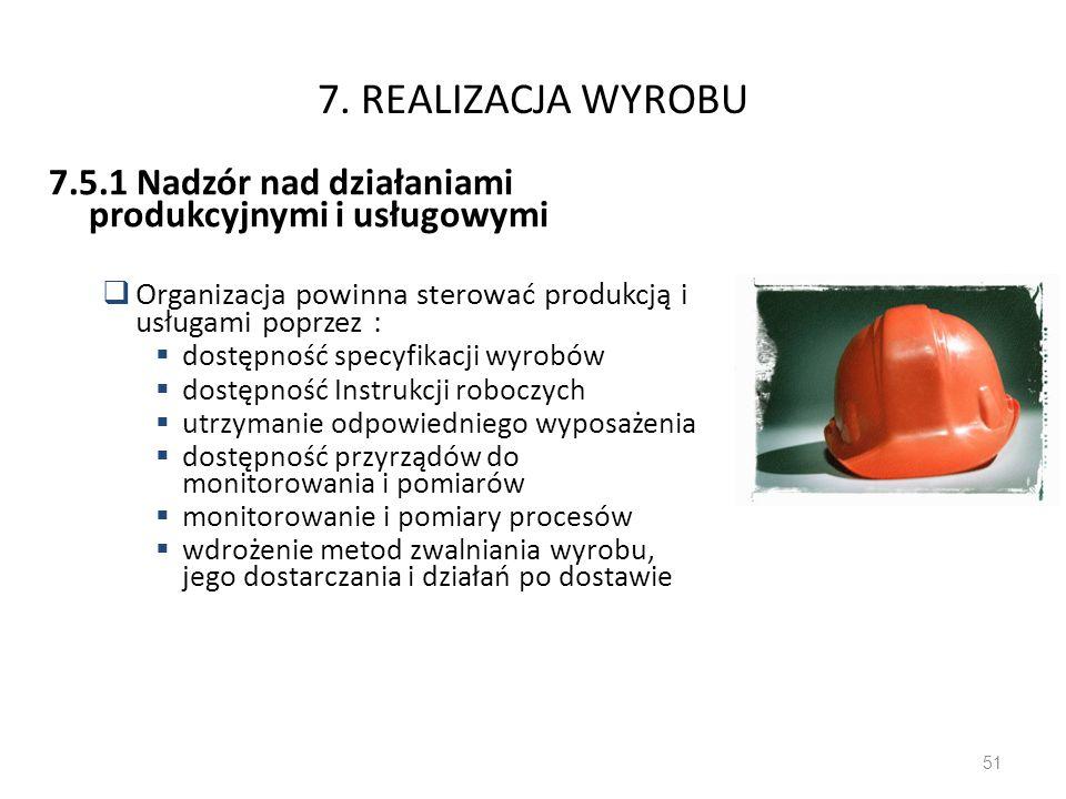 7. REALIZACJA WYROBU 7.5.1 Nadzór nad działaniami produkcyjnymi i usługowymi Organizacja powinna sterować produkcją i usługami poprzez : dostępność sp
