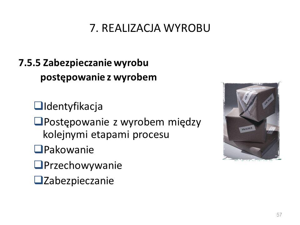 7. REALIZACJA WYROBU 7.5.5 Zabezpieczanie wyrobu postępowanie z wyrobem Identyfikacja Postępowanie z wyrobem między kolejnymi etapami procesu Pakowani