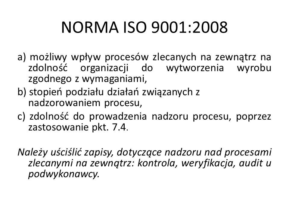 NORMA ISO 9001:2008 a) możliwy wpływ procesów zlecanych na zewnątrz na zdolność organizacji do wytworzenia wyrobu zgodnego z wymaganiami, b) stopień p