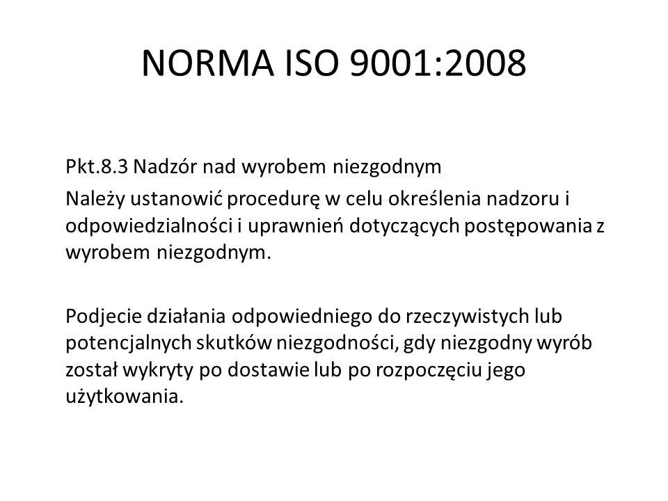 NORMA ISO 9001:2008 Pkt.8.3 Nadzór nad wyrobem niezgodnym Należy ustanowić procedurę w celu określenia nadzoru i odpowiedzialności i uprawnień dotyczą