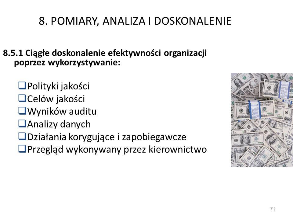 8. POMIARY, ANALIZA I DOSKONALENIE 8.5.1 Ciągłe doskonalenie efektywności organizacji poprzez wykorzystywanie: Polityki jakości Celów jakości Wyników