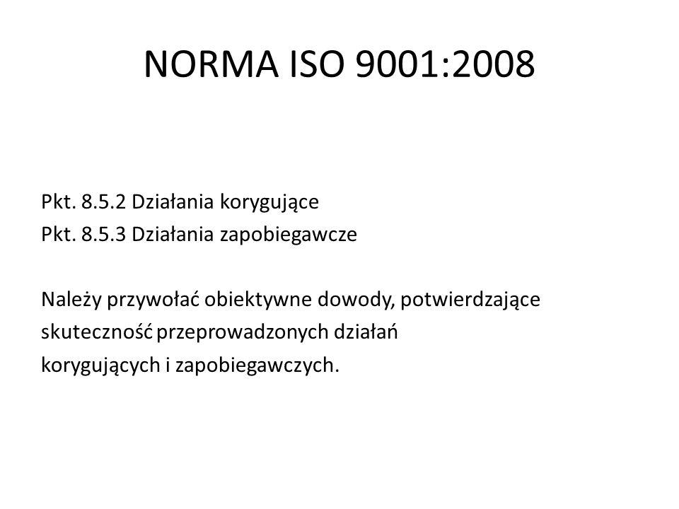 NORMA ISO 9001:2008 Pkt. 8.5.2 Działania korygujące Pkt. 8.5.3 Działania zapobiegawcze Należy przywołać obiektywne dowody, potwierdzające skuteczność