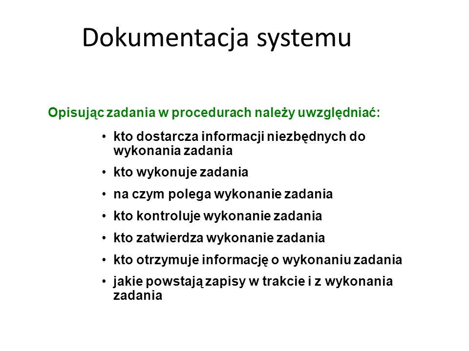 Dokumentacja systemu Opisując zadania w procedurach należy uwzględniać: kto dostarcza informacji niezbędnych do wykonania zadania kto wykonuje zadania
