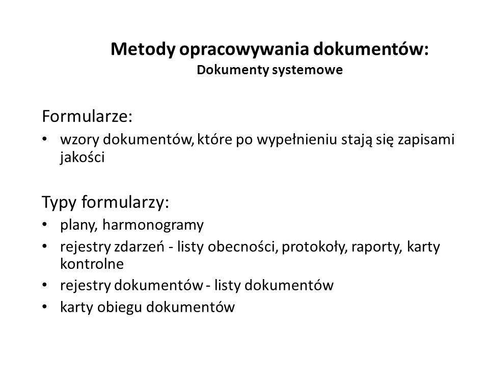 Metody opracowywania dokumentów: Dokumenty systemowe Formularze: wzory dokumentów, które po wypełnieniu stają się zapisami jakości Typy formularzy: pl
