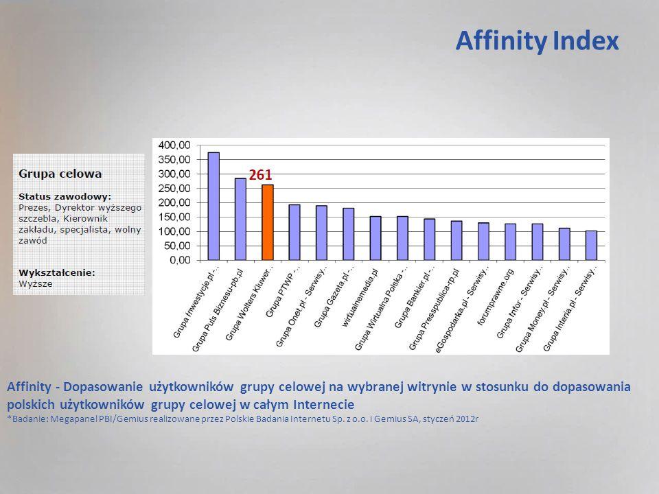 Affinity Index Affinity - Dopasowanie użytkowników grupy celowej na wybranej witrynie w stosunku do dopasowania polskich użytkowników grupy celowej w całym Internecie *Badanie: Megapanel PBI/Gemius realizowane przez Polskie Badania Internetu Sp.