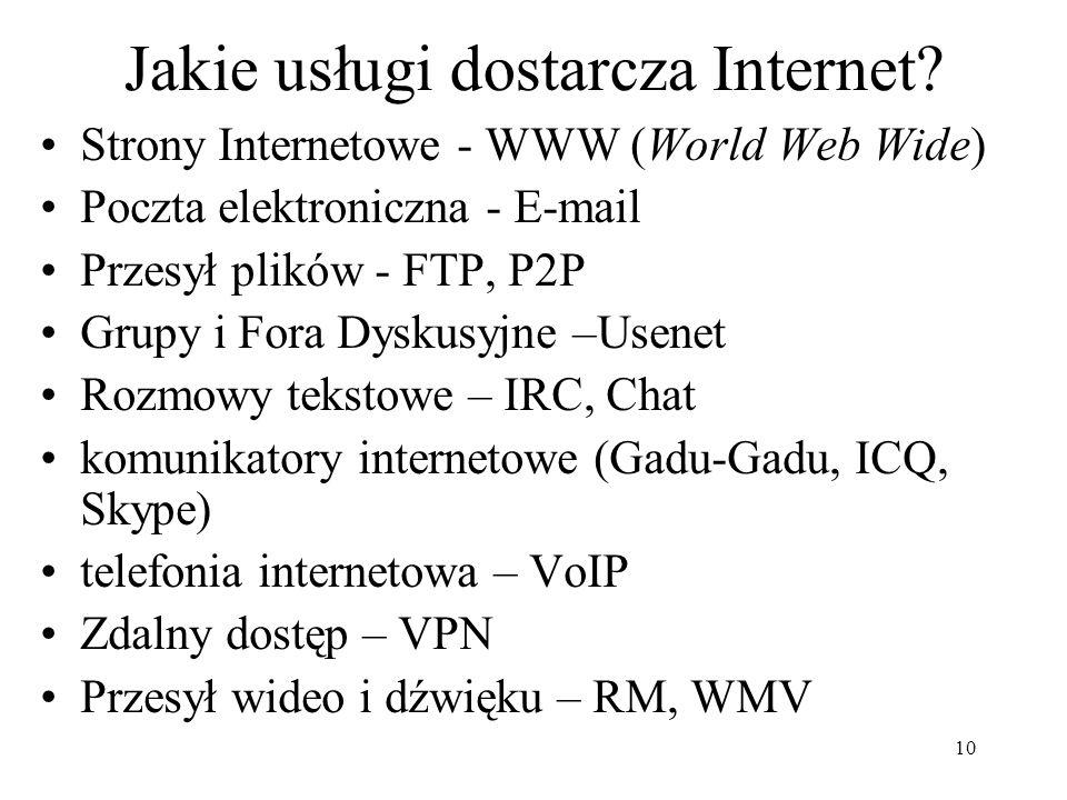 10 Jakie usługi dostarcza Internet.