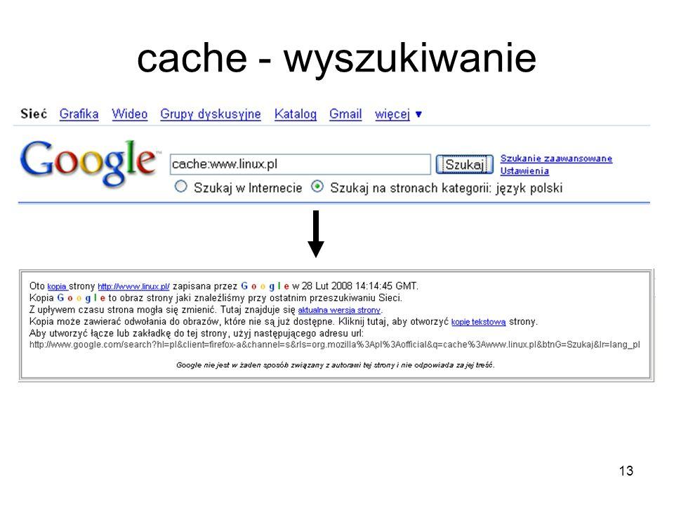 13 cache - wyszukiwanie