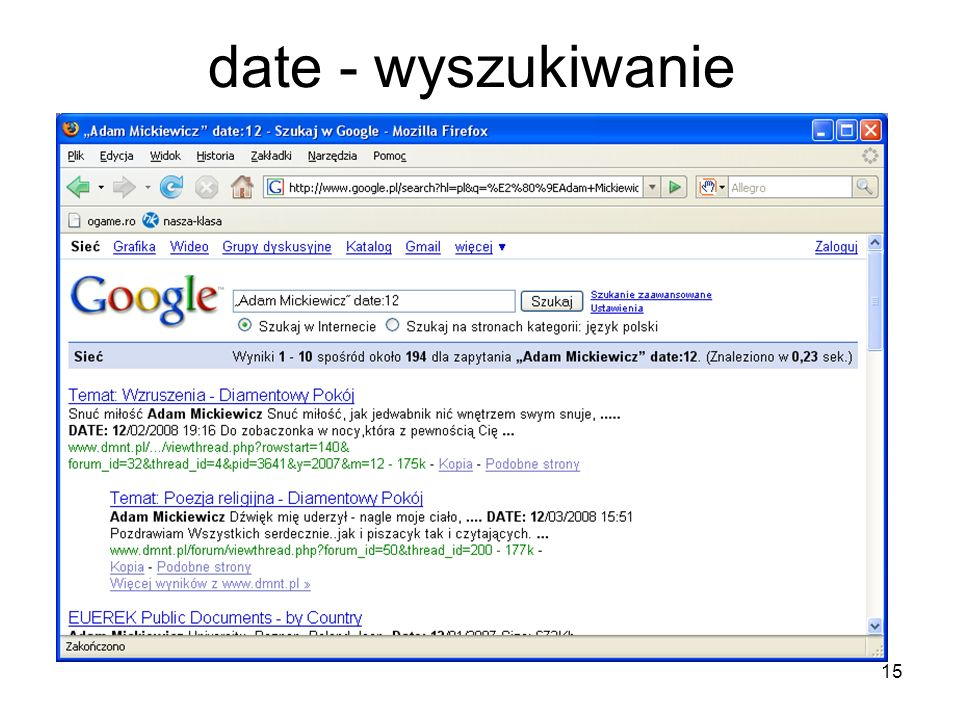 15 date - wyszukiwanie
