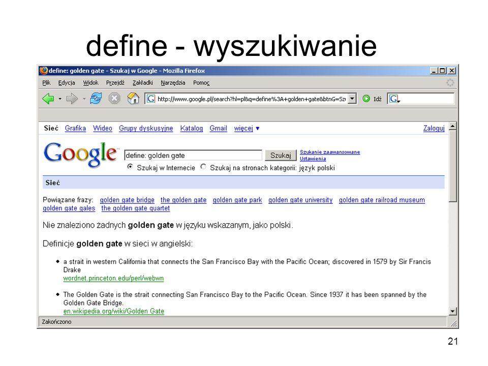 21 define - wyszukiwanie