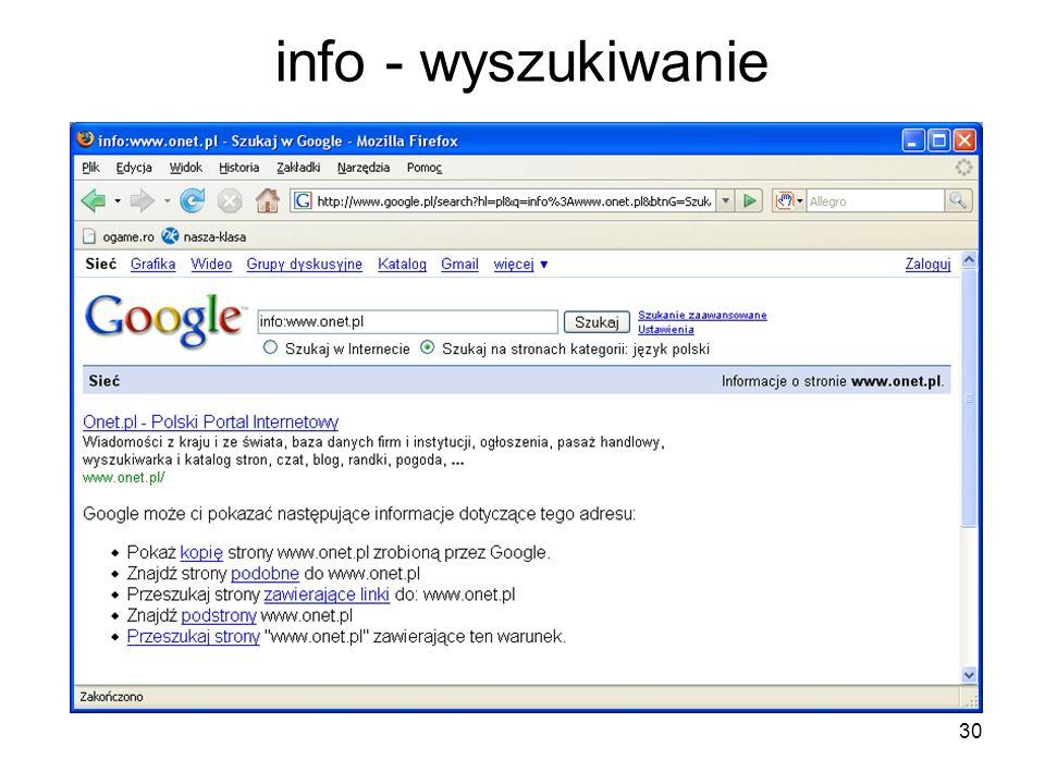 30 info - wyszukiwanie