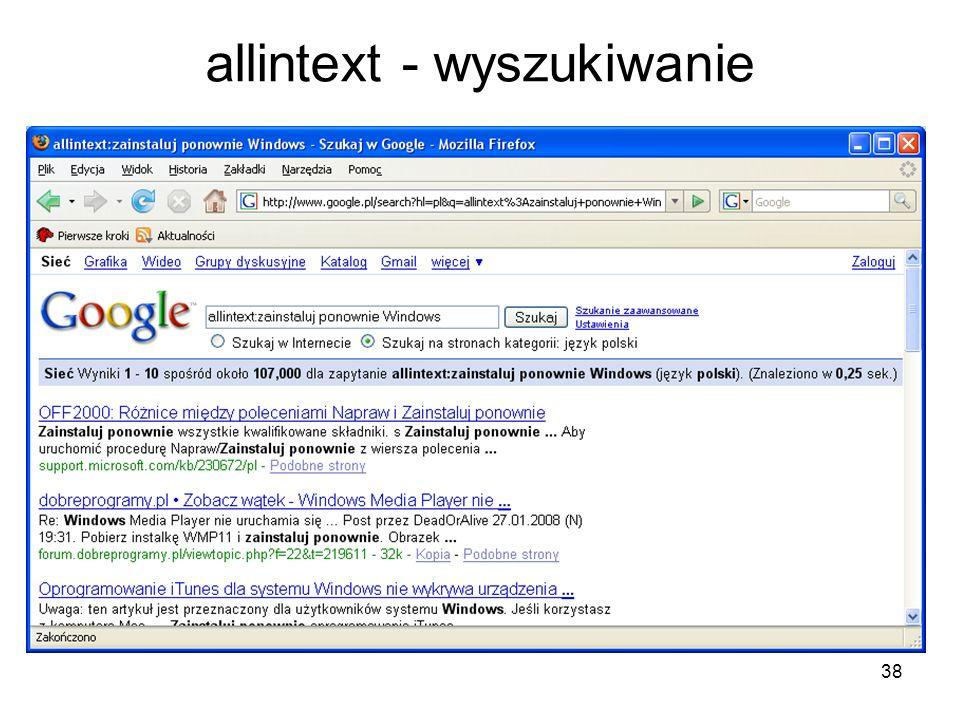 38 allintext - wyszukiwanie