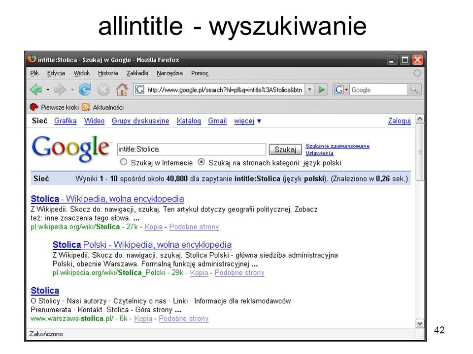 42 allintitle - wyszukiwanie