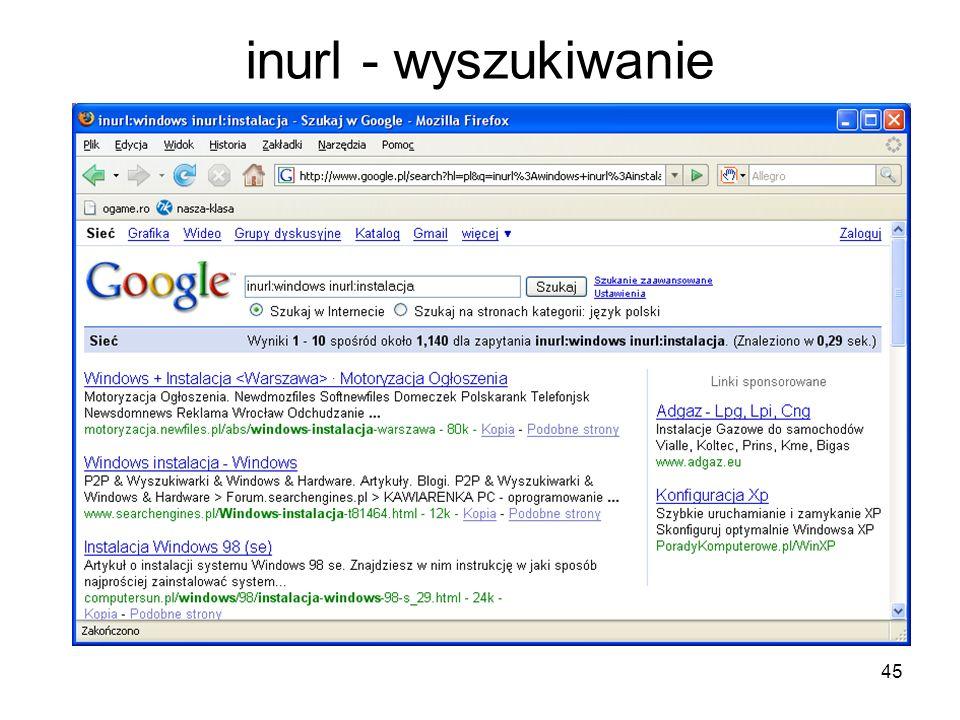 45 inurl - wyszukiwanie
