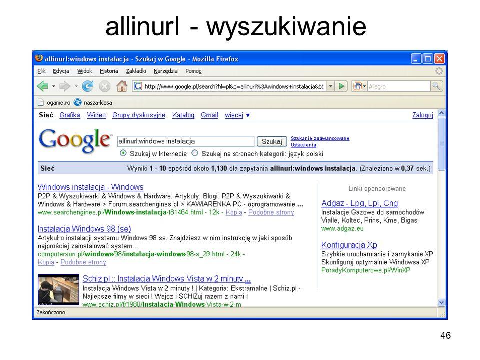 46 allinurl - wyszukiwanie