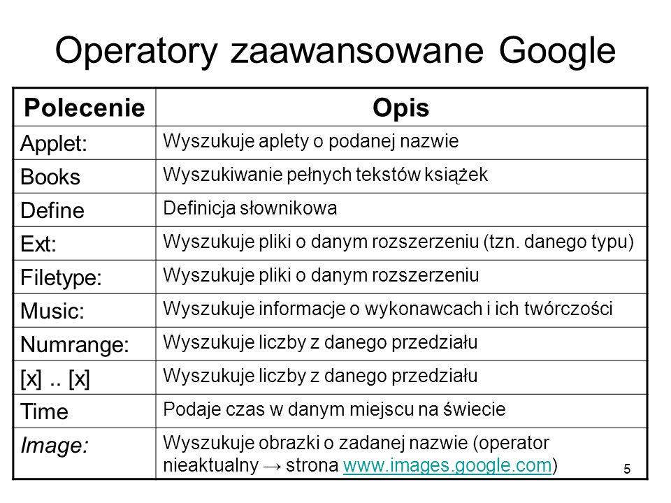5 Operatory zaawansowane Google PolecenieOpis Applet: Wyszukuje aplety o podanej nazwie Books Wyszukiwanie pełnych tekstów książek Define Definicja sł