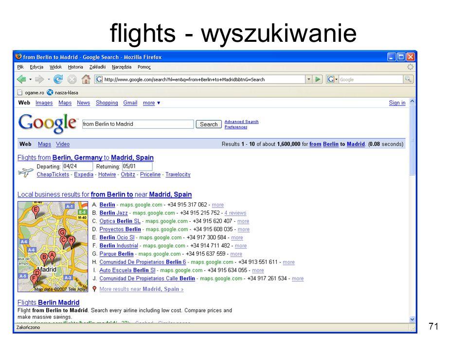 71 flights - wyszukiwanie