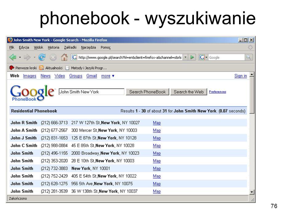 76 phonebook - wyszukiwanie