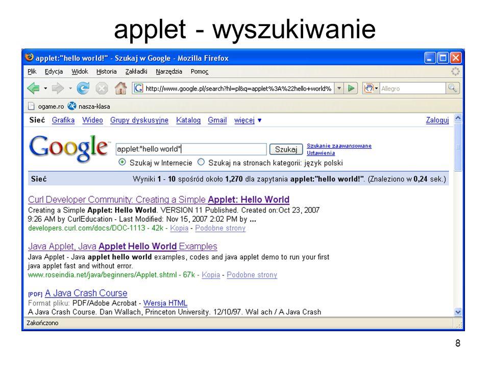 29 info - przykłady info:www.wp.pl – wyszukuje informacje na temat Wirtualnej Polski.