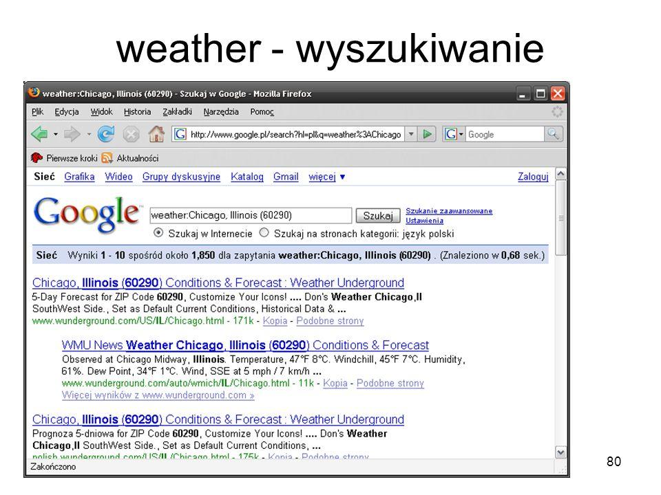 80 weather - wyszukiwanie