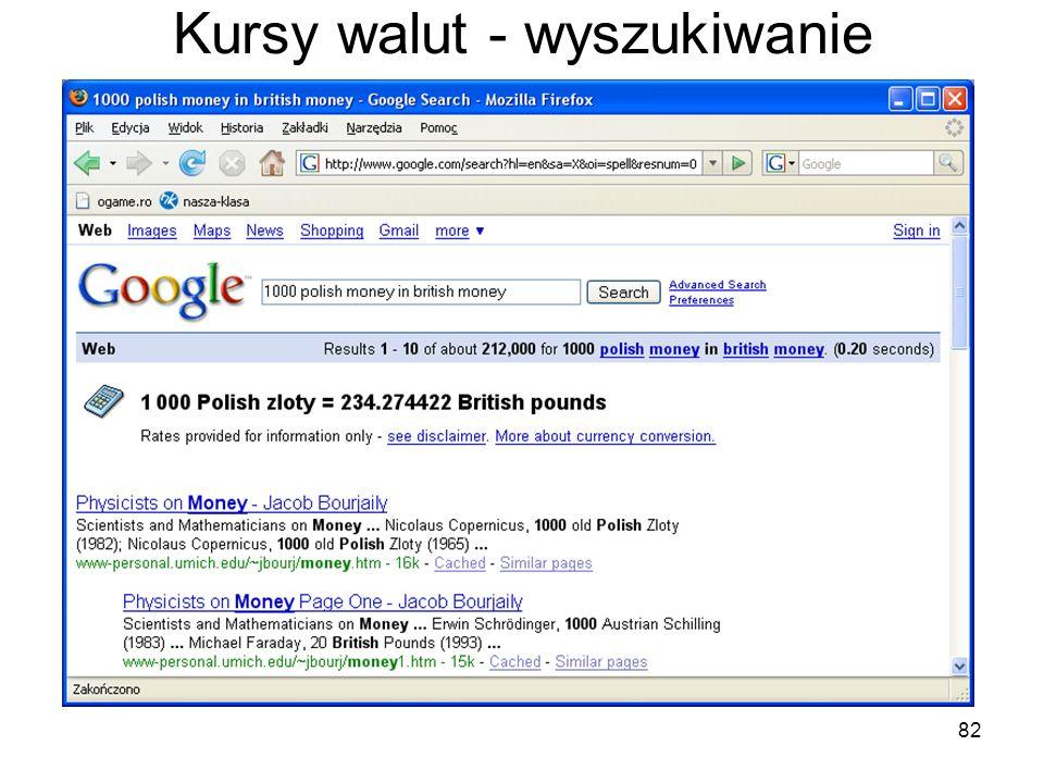 82 Kursy walut - wyszukiwanie