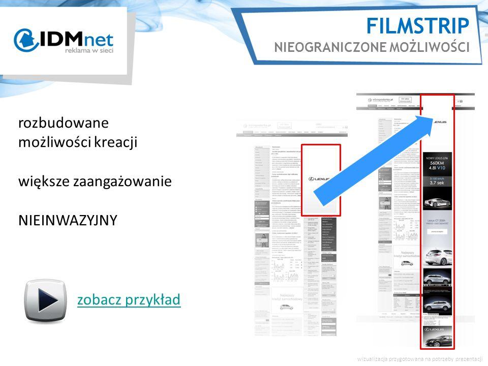 FILMSTRIP NIEOGRANICZONE MOŻLIWOŚCI rozbudowane możliwości kreacji większe zaangażowanie NIEINWAZYJNY wizualizacja przygotowana na potrzeby prezentacji zobacz przykład