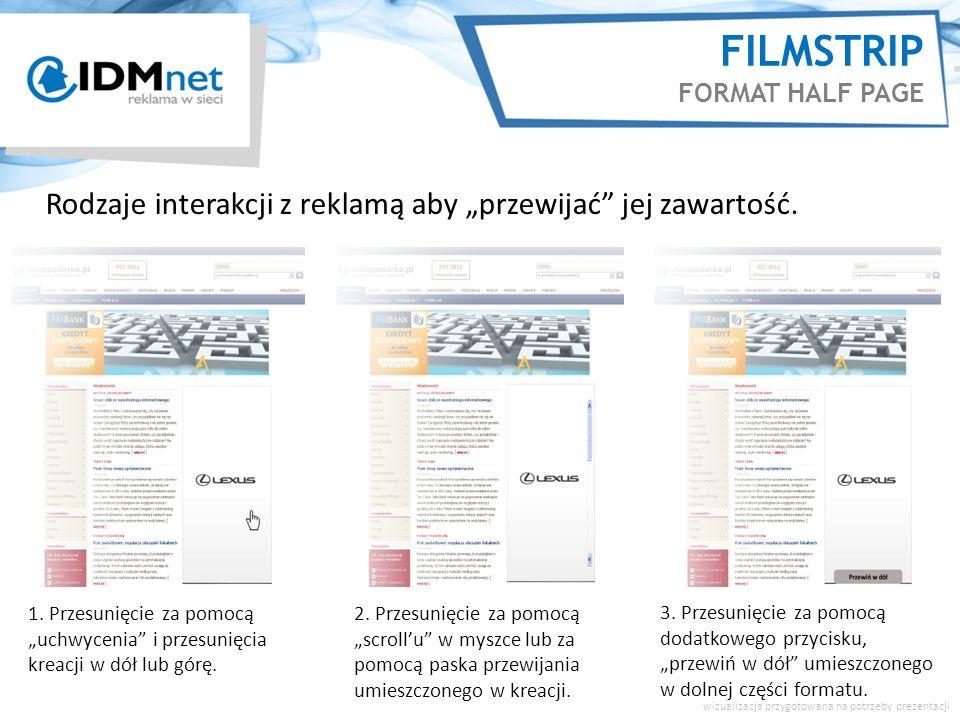 FILMSTRIP ZAWARTOŚĆ 5 segmentów graficznych możliwość przejrzystej, uporządkowanej prezentacji w jednym miejscu 5 segmentów = 5 stopni zaangażowania (świadomość, zainteresowanie, stworzenie potrzeby i intencji zakupu oraz lojalność wobec marki) 5 segmentów – wszystko o marce/Kliencie podane w atrakcyjnej formie: animacje flash, video, mapy, ankiety, galerie zdjęć, wtyczki społecznościowe, formularze, mini-gry itp.