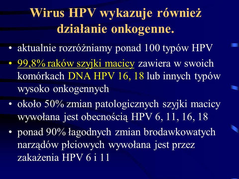 Wirus HPV wykazuje również działanie onkogenne. aktualnie rozróżniamy ponad 100 typów HPV 99,8% raków szyjki macicy zawiera w swoich komórkach DNA HPV